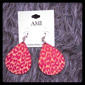 Jewelry - Pink Animal print wooden earrings